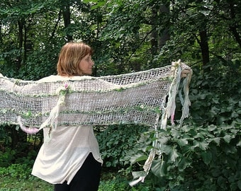 hand knit shawl art yarn silk enchanted forest faerie wrap - woodland lady