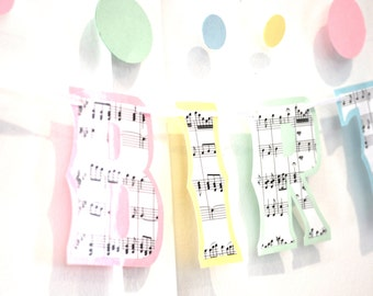 Music HaPPY BiRTHDAY Banner - Sheet Music on Pastels - Customize, Personalize