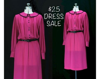 SALE! Vintage 80s Poised and Prettiest Pink Dress