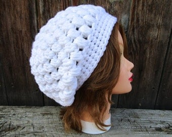 Slouchy Beanie - Puff Stitch Hat - White Hat - Women's Headwear - Chunky Beanie - Crochet Hat - Crochet Accessories