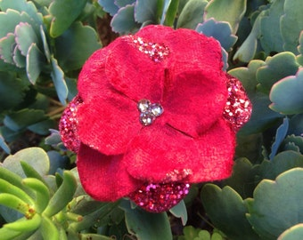 Firecracker Red Flower Hair Clip