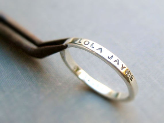 2mm Thick Personalized Ring - Tiny Font, Inspiration Ring, Mother's Ring, Father's Ring, Best Friend Ring, Graduation Ring