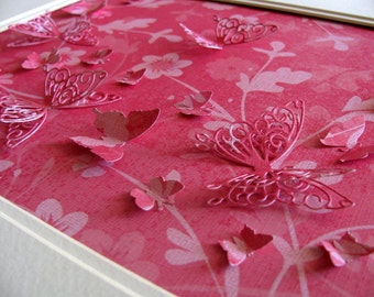 INVENTORY Clearance Camouflage Deep Rose & Light Pink 3D Butterfly Art / Butterflies Blend in With Pattern / 8x10 inches
