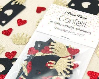 Queen of Hearts Glitter Confetti - 100 pieces - Alice in Wonderland, Table confetti, Party Decorations