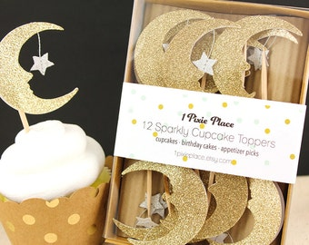Love you to the moon and back Glitter Cupcake Toppers - Set of 12