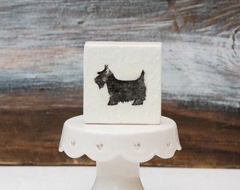 Good Dog Tiny Original Encaustic Painting Housewarming Gift Mini Painting Black Scottie Dog