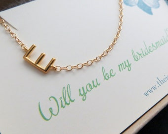 bridesmaid sideways initial necklace personalized bridesmaid jewelry will you be my bridesmaid card gift sideway letter necklace