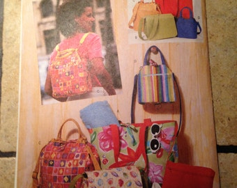 Butterick 6043 Backpack, Tote Bag, and Purse Craft Pattern UNCUT