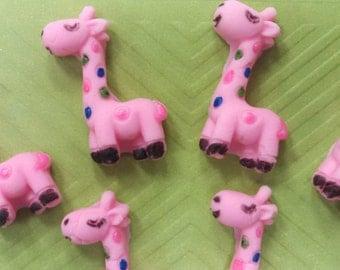 Fondant Giraffes-Edible Giraffes-Giraffe Cupcake Toppers-Pink Giraffes-Pink Fondant Giraffes-Giraffe Toppers-Edible Giraffe Toppers