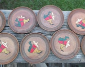 Vintage Wooden Coasters--Mexican Siesta--Set of 8--Retro Barware--Novelty Coasters--Made in Japan--Late Mid Century--Cocktail Party Decor