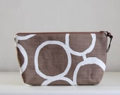 Brown Gs Wide Padded Zipper Pouch Gadget Case Cosmetics Bag - READY TO SHIP