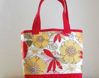 Red Blooms Fabric Tote Bag - READY TO SHIP