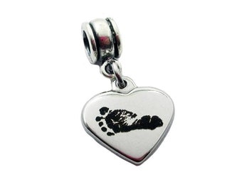 Your Baby's Footprints small heart charm - Fits Pandora