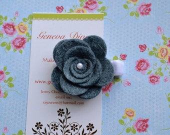 Denim Blue Felt Rosette Hairclip