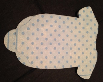 Any quantity baby shower 'shirt' or 'bib' shaped paper napkins with tiny blue polka dots.