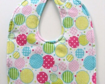 Ready To Ship - Bubbles Reversible Flannel Baby Bib - Large Polka Dot Flannel Baby  Bib - Polka Dots Flannel Toddler Bib - #33
