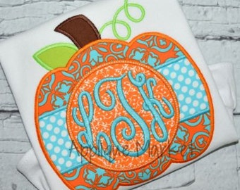 Machine Embroidery Design Applique Pumpkin Circle Tab Monogram INSTANT DOWNLOAD