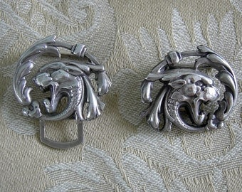 Vintage Silver Dragon Head Belt Buckle - Two Piece Buckle