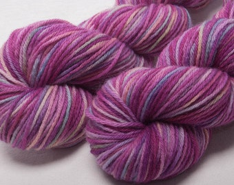 Hand dyed yarn BlueFaced Leicester BFL Hand painted DK  yarn 100g skein