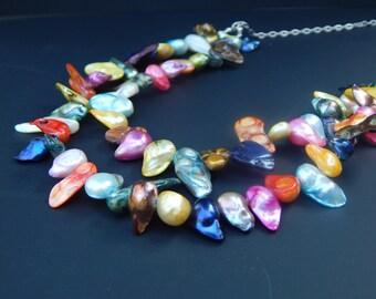 Double Confetti Blister Pearl Necklace
