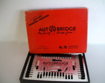 Vintage Auto Bridge Play Yourself Bridge Game 1950's In Original Box Some Wear On Box And Instructions