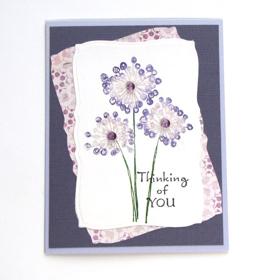 dandelion card - Thinking of You Card - purple Dandelion Flower - Purple card - Hand Colored Card - dandelion card - handstamped card