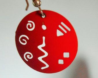 Red Pierced Round Dangle Earrings, Pierced ears