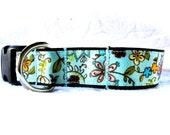 Blue Floral Large Dog Collar