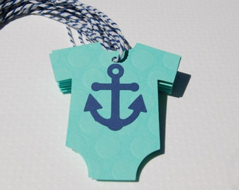 pale aqua/ mint nautical theme baby shower onesie  navy anchor baby girl baby boy set of 12 navy white bakers twine thank you tag wish tag