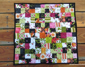 Floral Table Topper, Quilted Table Runner, Table Runner, Black Quilted Table Runner