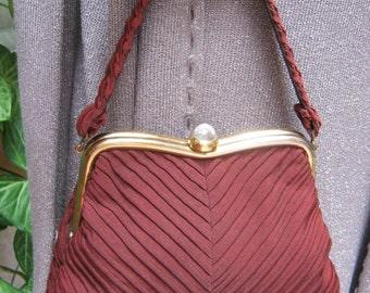 Vintage JR USA copper brown soft handbag, copper brown tucked fabric Kelly bag, Julius Resnick fabric evening dressy handbag, prom bag