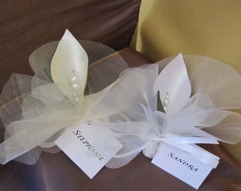 2 in 1 calla lily wedding favor and place card bomboniera custom color