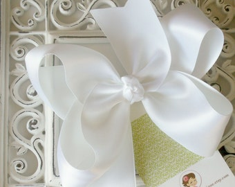 NEW ITEM----Big Boutique SATIN Hair Bow Clip-----White