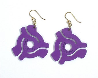Purple 45 rpm Vinyl Record Adapter Earrings Recycled Symbol for Music Enthusiast Adaptor