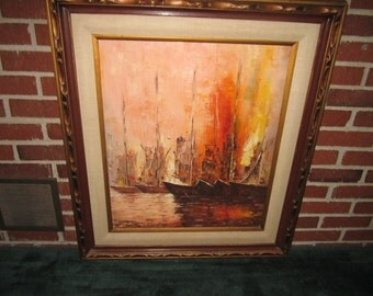 Vintage Mid Century Modern Large Signed Oil Painting of Ships in Harbor