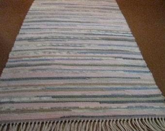 Handwoven Blue, Pink, Tan Multi Rag Rug 25 x 67 (M)