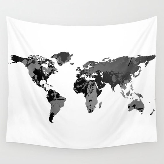 Black white world map wall tapestry wall hanging world map like this item gumiabroncs Choice Image
