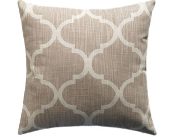 Cream Moroccan Pillow, Quatrefoil Accent Pillow, Richloom Bravo Cream Double Sided Decorative Throw Pillow - Free Shipping