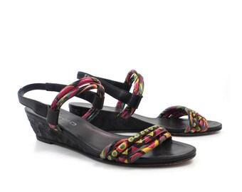 Martini Osvaldo Sandals Vintage 1980s Black  Multicolor Leather Wedges Women's size 11