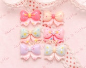 Bow Ribbon Cabochon / Pastel Bow Cabochon Decoden Pieces - 6pcs