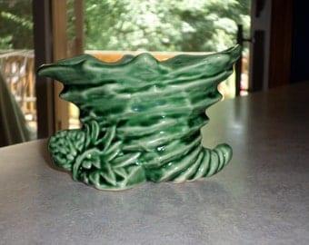 McCoy Pottery green cornucopia Pinecone rustic planter vase holder