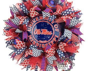 Ole Miss Wreath -University of Mississippi Wreath -Ole Miss Tailgate Decor -Ole Miss Door Wreath -College Wreaths