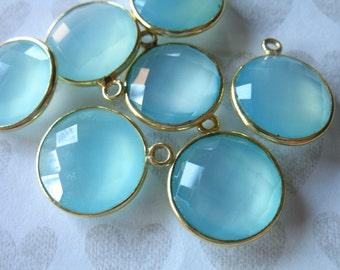 Shop Sale.. 1 2 5 10 pc, CHALCEDONY Charm Pendants, Bezel Set Gem Stone, 20x16 mm, 24k Gold Vermeil or Sterling, 20x16 mm round gcp9 gp