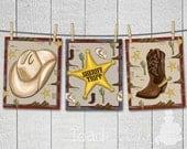 Set of 3 Cowboy Wild West Buckaroo - PERSONALIZE with Name - Boys Bedroom Children's Baby Nursery  8x10 ART PRINTS
