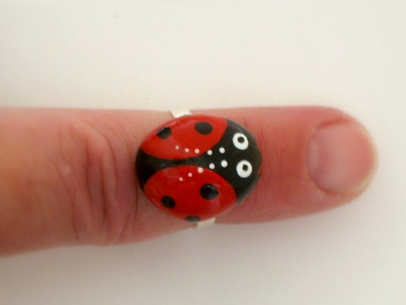 Red Ladybug-Ladybird Beetle-painted rock-stone ring-adjustable-costume jewelry-gift for her-unique best friend gift ideas-summer birthday