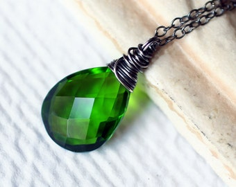 Emerald Green Quartz Necklace on Oxidized Sterling Silver - Amazonia by CircesHouse on Etsy