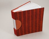Blank Journal Notebook Guestbook or Sketchbook with a Rich Red Geometric Fabric Cover