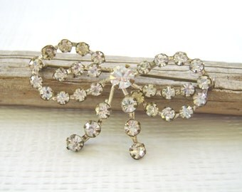 Vintage Rhinestone Bow Brooch, Gift for Her, Rhinestone Bow Pin, Rhinestone Hat Pin, Sparkly Brooch