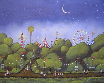 Summer Night At The Fair   a small  PRINT from the original by Deborah Gregg
