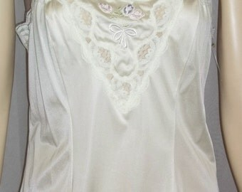 Vintage Deadstock Lorraine Ivory Nylon Lace Camisole Cami Medium Embroidered Tulips 36